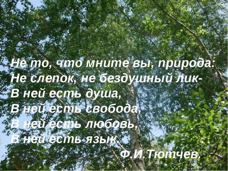 Не то, что мните вы, природа: Не слепок, не бездушный лик- В ней есть душа, В...