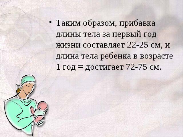 Таким образом, прибавка длины тела за первый год жизни составляет 22-25 см, и...