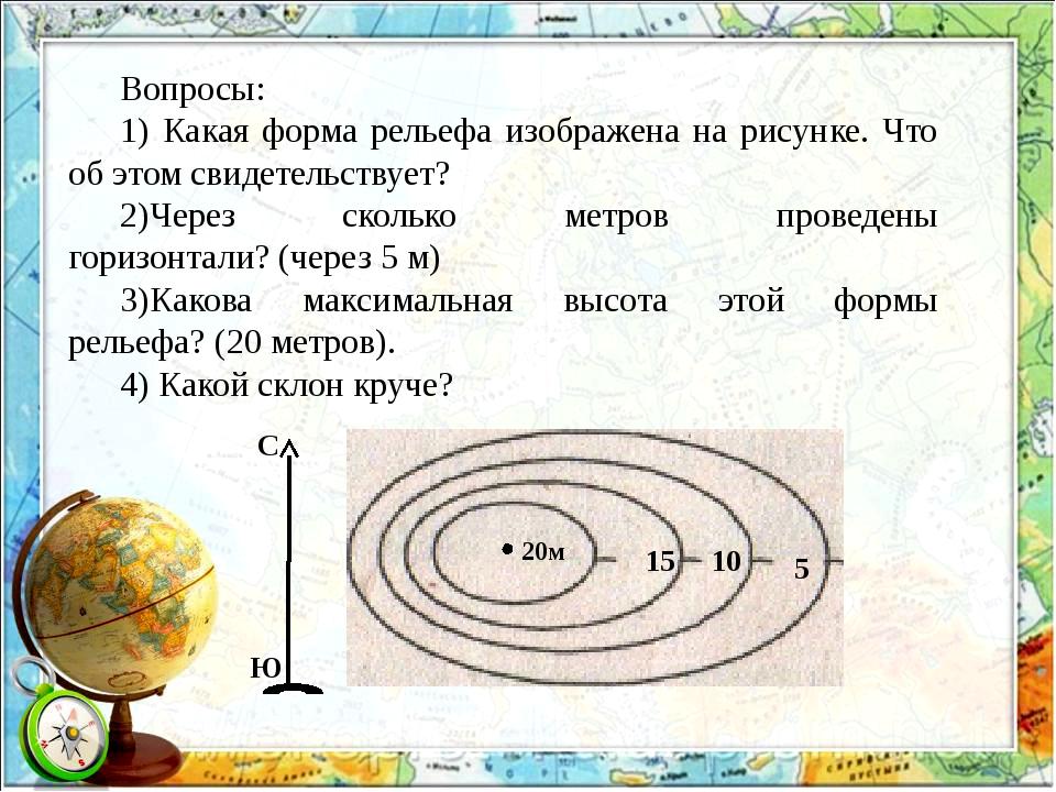 Вопросы: 1) Какая форма рельефа изображена на рисунке. Что об этом свидетельс...