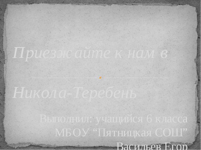 """Выполнил: учащийся 6 класса МБОУ """"Пятницкая СОШ"""" Васильев Егор Приезжайте к н..."""