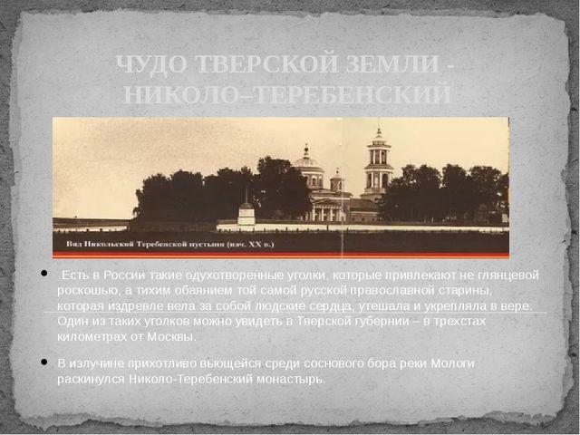 ЧУДО ТВЕРСКОЙ ЗЕМЛИ - НИКОЛО–ТЕРЕБЕНСКИЙ МОНАСТЫРЬ Есть в России такие одухо...
