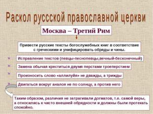 Москва – Третий Рим Привести русские тексты богослужебных книг в соответствие