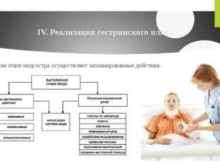 IV. Реализация сестринского плана На этом этапе медсестра осуществляет заплан