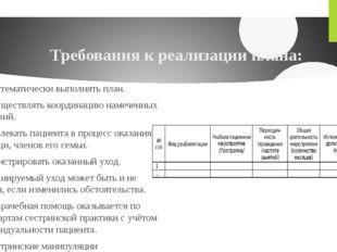 Требования к реализации плана: 1. Систематически выполнять план. 2. Осуществл