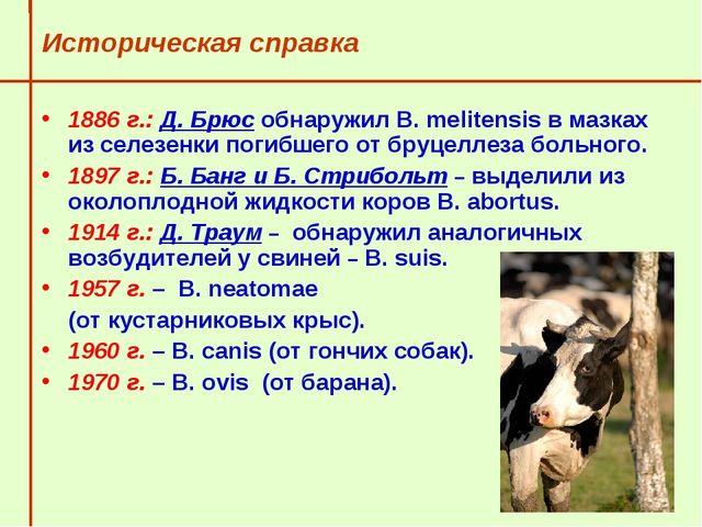 Историческая справка 1886 г.: Д. Брюс обнаружил В. melitensis в мазках из се...