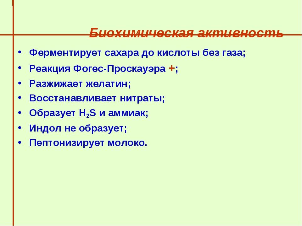 Биохимическая активность  Ферментирует сахара до кислоты без газа; Реакция...