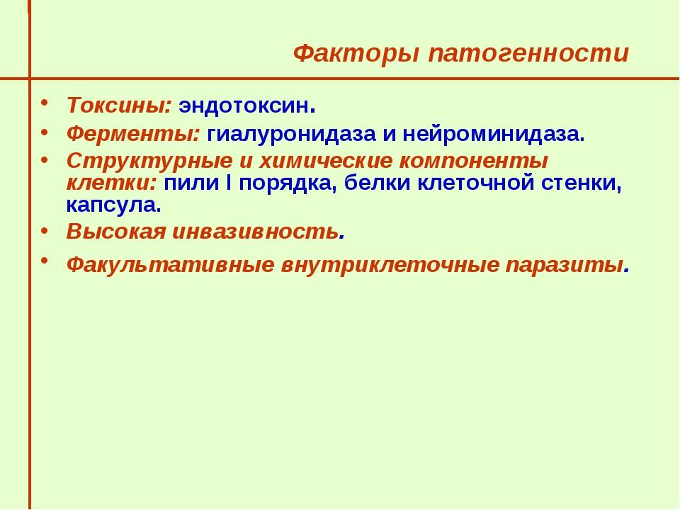 Факторы патогенности  Токсины: эндотоксин. Ферменты: гиалуронидаза и нейром...