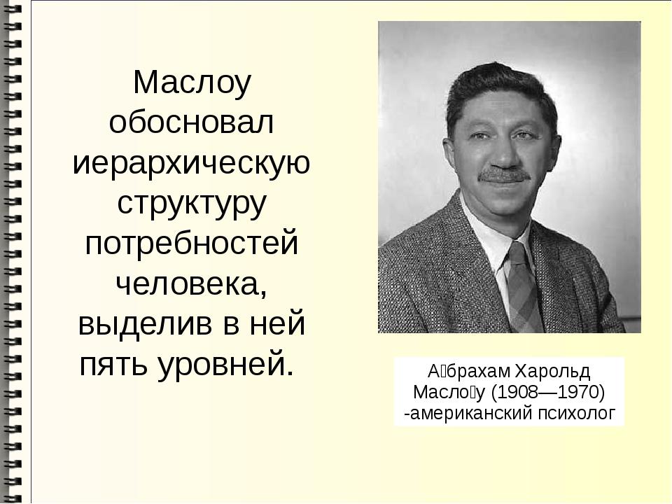 Маслоу обосновал иерархическую структуру потребностей человека, выделив в ней...