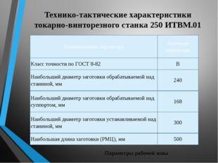 Технико-тактические характеристики токарно-винторезного станка 250 ИТВМ.01 Па