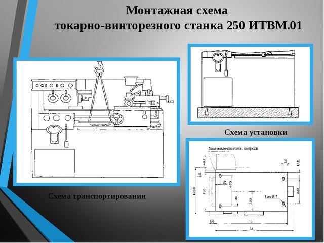 Монтажная схема токарно-винторезного станка 250 ИТВМ.01 Схема транспортирован...