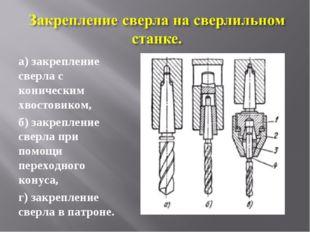 а) закрепление сверла с коническим хвостовиком, б) закрепление сверла при пом