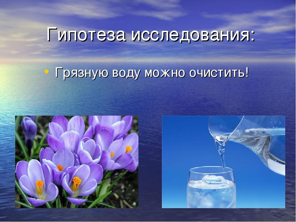 Гипотеза исследования: Грязную воду можно очистить!