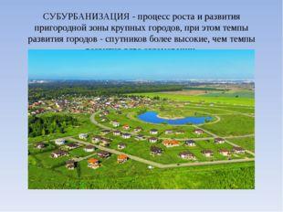 СУБУРБАНИЗАЦИЯ - процесс роста и развития пригородной зоны крупных городов, п