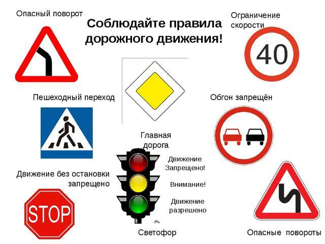 Соблюдайте правила дорожного движения! Ограничение скорости Опасный поворот П...