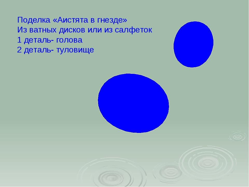 Поделка «Аистята в гнезде» Из ватных дисков или из салфеток 1 деталь- голова...
