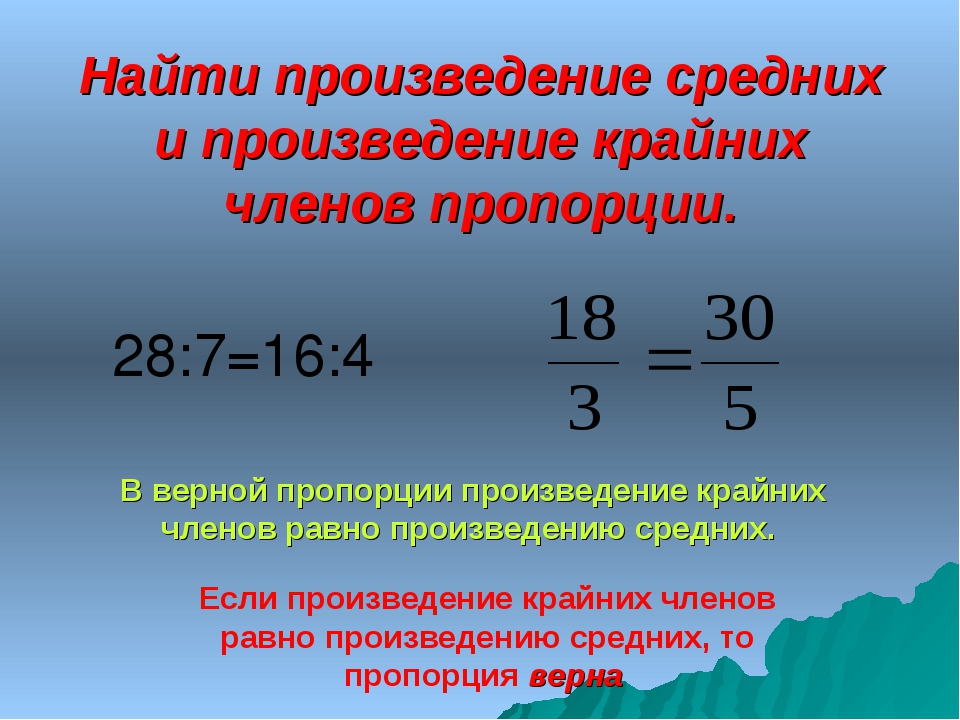 Найти произведение средних и произведение крайних членов пропорции. 28:7=16:4...