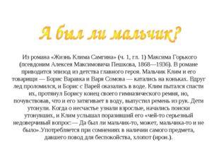 Из романа «Жизнь Клима Самгина» (ч. 1, гл. 1) Максима Горького (псевдоним Ал