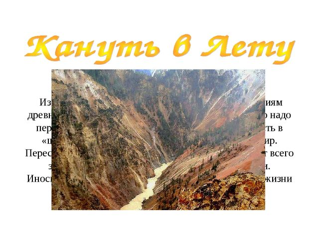 Из древнегреческой мифологии. Лета, по верованиям древних греков, — это река...