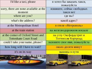 I'd like a taxi, please я хотел бы заказать такси, пожалуйста sorry, there a