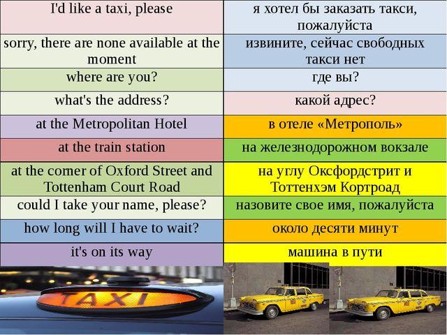 I'd like a taxi, please я хотел бы заказать такси, пожалуйста sorry, there a...