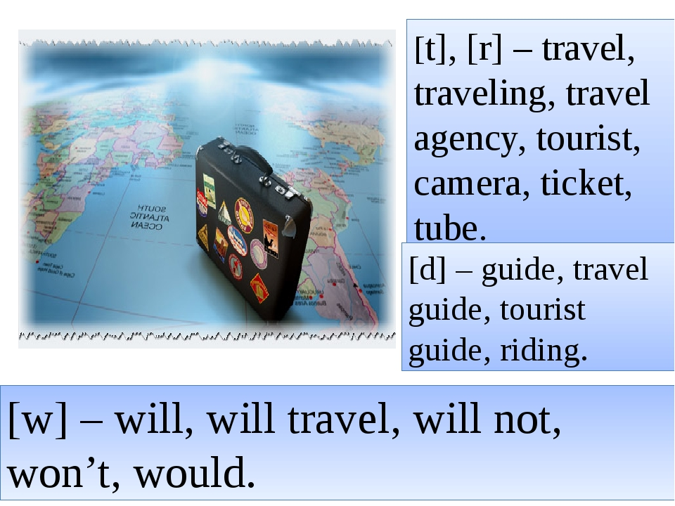 [t], [r] – travel, traveling, travel agency, tourist, camera, ticket, tube. [...