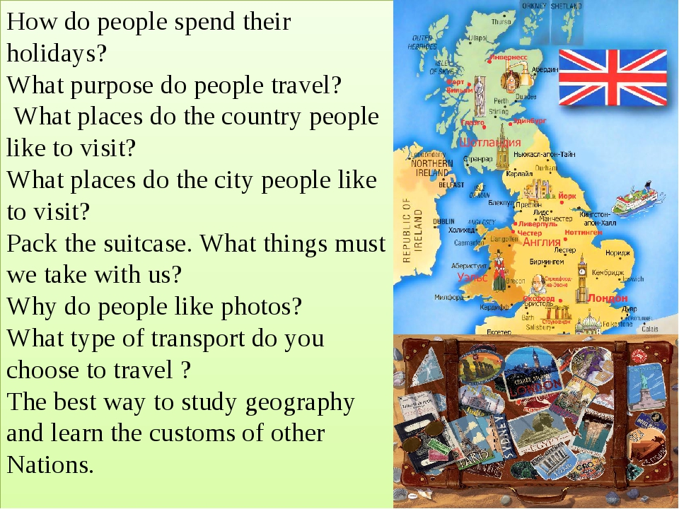 How do people spend their holidays? What purpose do people travel? What place...