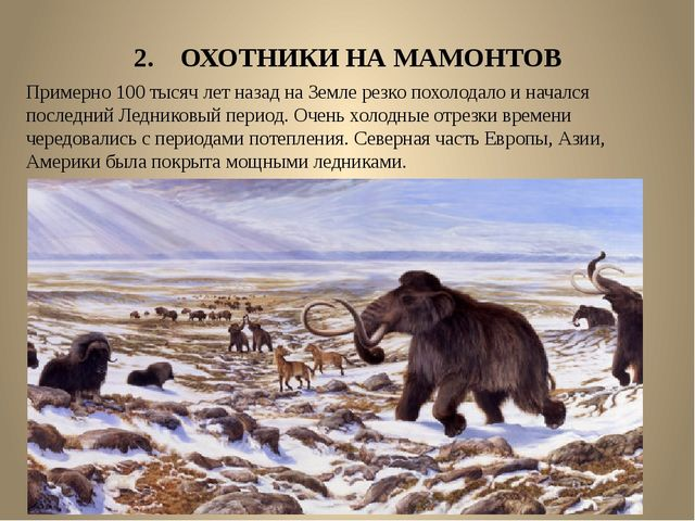 2. ОХОТНИКИ НА МАМОНТОВ Примерно 100 тысяч лет назад на Земле резко похолодал...