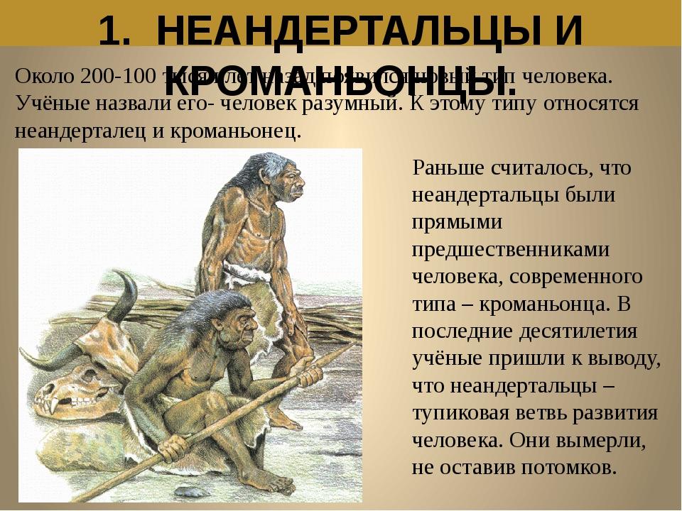 1. НЕАНДЕРТАЛЬЦЫ И КРОМАНЬОНЦЫ. Около 200-100 тысяч лет назад появился новый...