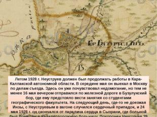 Летом 1928 г. Неуструев должен был продолжать работы в Кара-Калпакской автоно