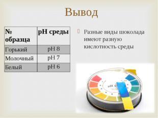 Вывод Разные виды шоколада имеют разную кислотность среды № образцаpH среды