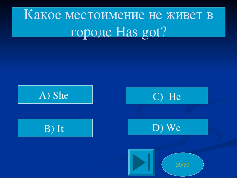A) She C) He Какое местоимение не живет в городе Has got? 50/50 B) It D) We