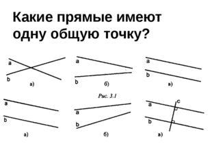 Какие прямые имеют одну общую точку?