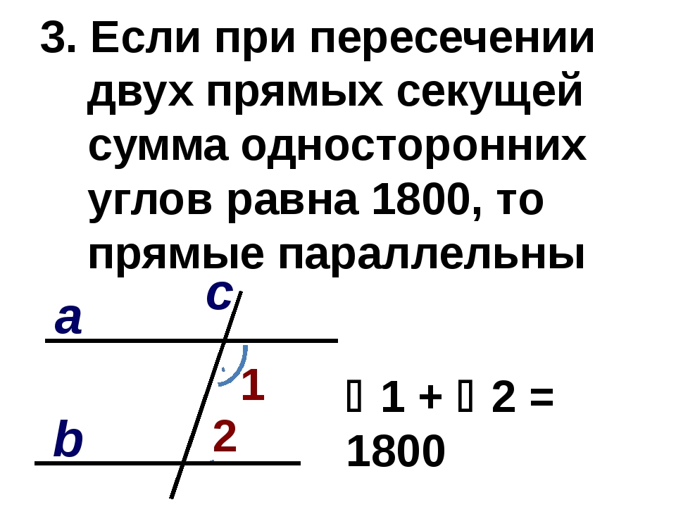 3. Если при пересечении двух прямых секущей сумма односторонних углов равна 1...
