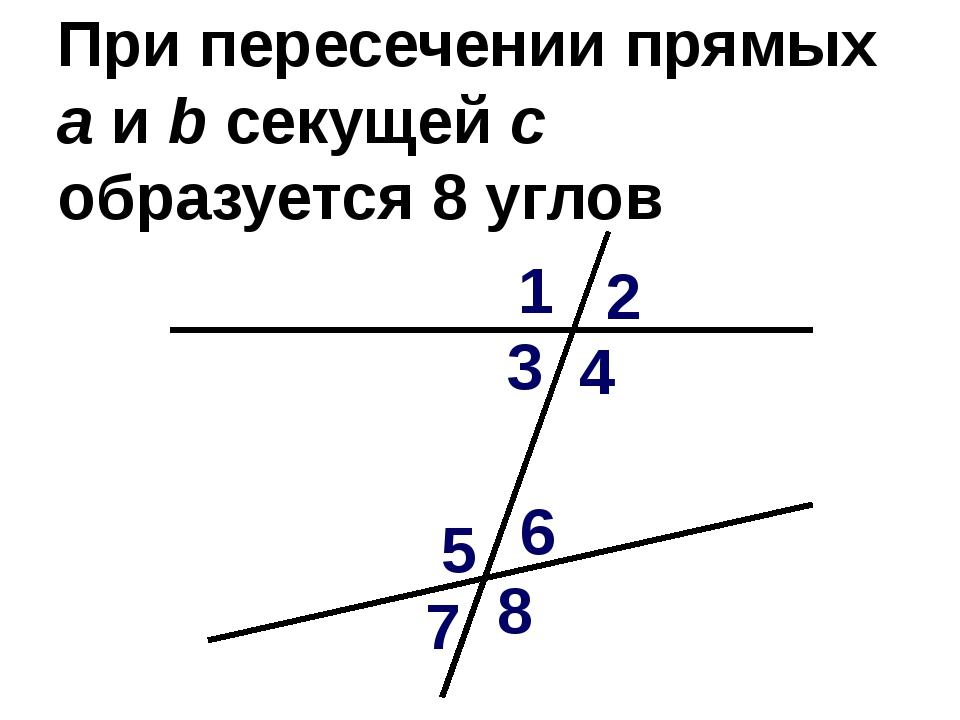 При пересечении прямых а и b секущей с образуется 8 углов 1 2 3 4 5 6 7 8