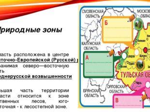 Природные зоны Область расположена в центре Восточно-Европейской (Русской) ра