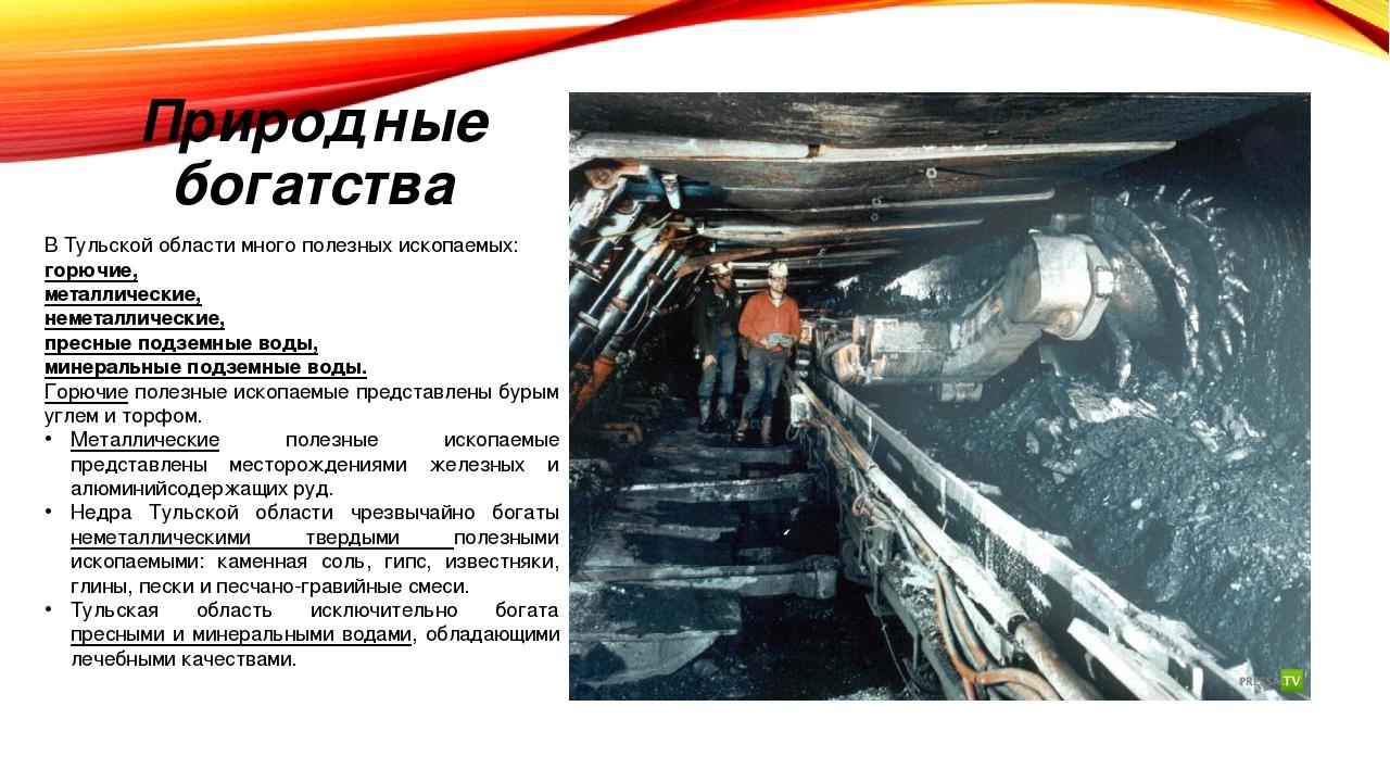 Природные богатства В Тульской области много полезных ископаемых: горючие, ме...