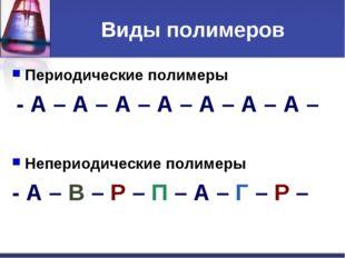 Виды полимеров Периодические полимеры - А – А – А – А – А – А – А – Непериоди