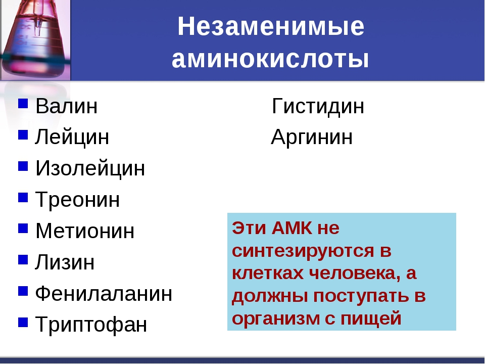 Незаменимые аминокислоты Валин Гистидин Лейцин Аргинин Изолейцин Треонин Мети...