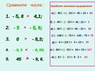 Сравните числа : - 5, 8 4,1; 2. - 5 - 5, 6; 3. 0 - 8,3; 4. - 0, 3 - 0, 03; 5
