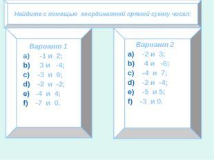 Найдите с помощью координатной прямой сумму чисел: Вариант 1 -1 и 2; 3 и -4;