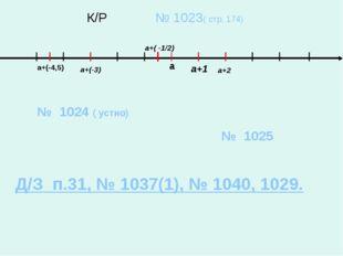 К/Р № 1023( стр. 174) а а+(-3) а+2 а+(-4,5) а+1 а+( -1/2) № 1024 ( устно) №