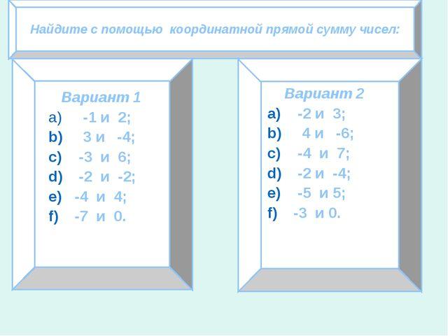 Найдите с помощью координатной прямой сумму чисел: Вариант 1 -1 и 2; 3 и -4;...