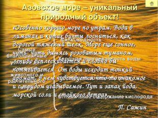 Азовское море – уникальный природный объект! Мелководность Хорошая прогреваем