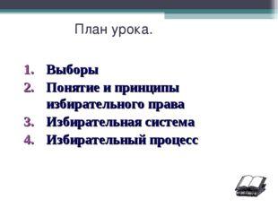 План урока. Выборы Понятие и принципы избирательного права Избирательная сист