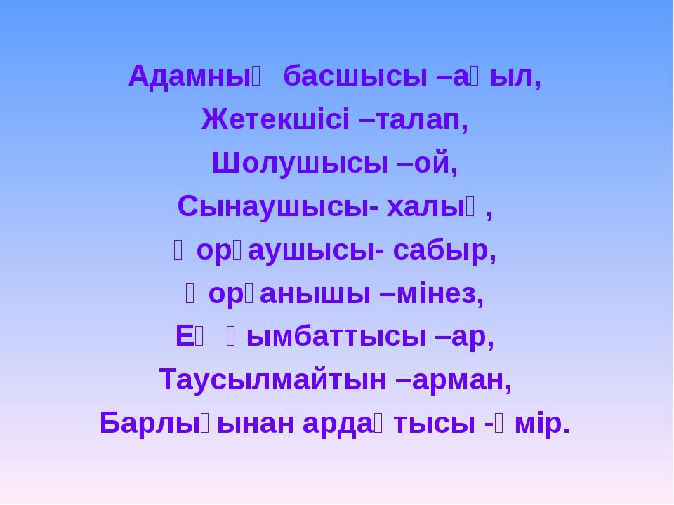 Адамның басшысы –ақыл, Жетекшісі –талап, Шолушысы –ой, Сынаушысы- халық, Қорғ...