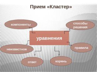 Прием «Кластер» уравнения компоненты ответ корень неизвестное способы решения
