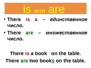 There is a – единственное число. There are – множественное число. There is a