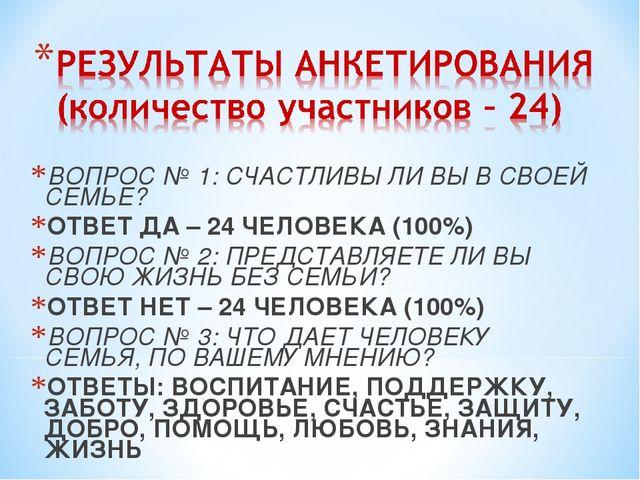 ВОПРОС № 1: СЧАСТЛИВЫ ЛИ ВЫ В СВОЕЙ СЕМЬЕ? ОТВЕТ ДА – 24 ЧЕЛОВЕКА (100%) ВОП...