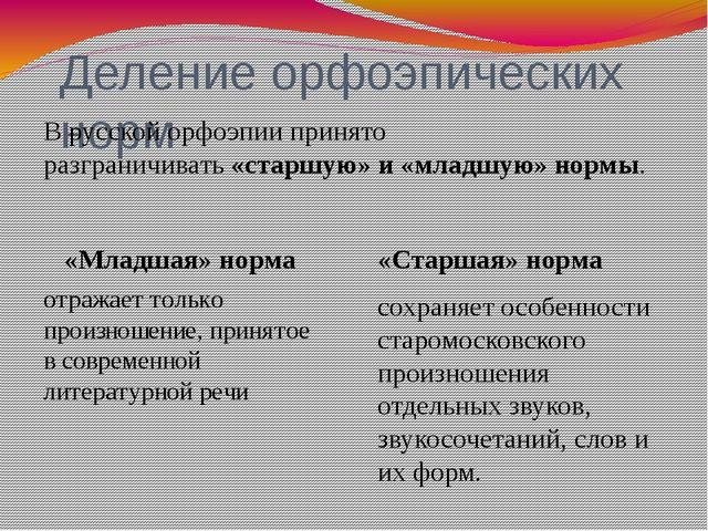 Деление орфоэпических норм «Младшая» норма отражает только произношение, при...