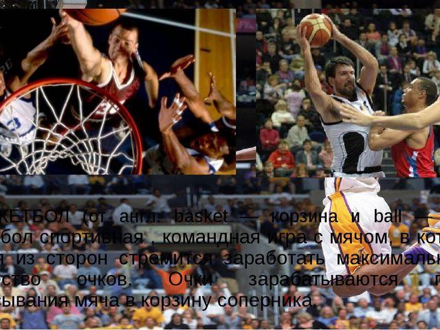 БАСКЕТБОЛ (от англ. basket — корзина и ball — мяч), Баскетбол спортивная ,...